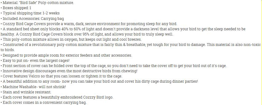 Cage cover description